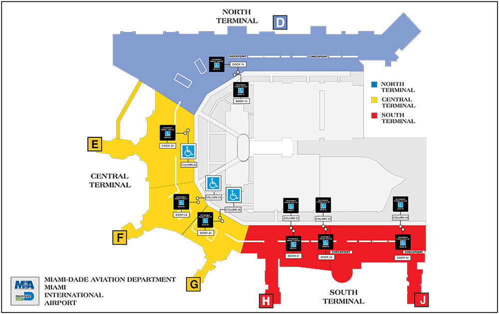 Miami Terminal Map STS Pickup & Dropoff   Miami International Airport Miami Terminal Map